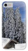 Snow Covered Trees And Mountains In Beautiful Winter Landscape IPhone Case by Matthias Hauser