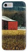 Snowy Red Barn In Winter IPhone Case by Lois Bryan