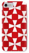 Spice Twirl- Red And White Pattern IPhone Case by Linda Woods