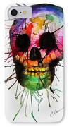 Splatter Skull IPhone Case by Christy Bruna