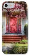 Spring - Door - Westfield Nj - Pink IPhone Case by Mike Savad