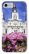 St. Louis Cathedral And Flowers In New Orleans IPhone Case by Paul Velgos