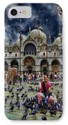 St Mark's Basilica - Feeding The Pigeons IPhone Case by Lee Dos Santos
