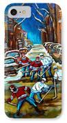 St Urbain Street Boys Playing Hockey IPhone Case