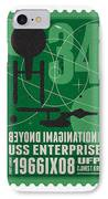 Starschips 34-poststamp - Uss Enterprise IPhone Case by Chungkong Art