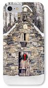Stone Chapel In The Woods Trapp Family Lodge Stowe Vermont IPhone Case by Edward Fielding