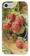 Strawberries And Peas IPhone Case by John Sherrin