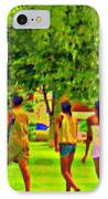 Summertime Walk Through The Beautiful Tree Lined Park Montreal Street Scene Art By Carole Spandau IPhone Case