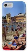 Sun Bathers In Sestri Levante In The Italian Riviera In Liguria Italy IPhone Case by David Smith