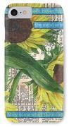 Sunflower Dictionary 1 IPhone Case by Debbie DeWitt