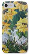Sunflowers In An Antique Country Pot IPhone Case by Eloise Schneider