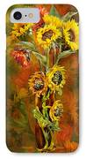 Sunflowers In Sunflower Vase IPhone Case by Carol Cavalaris