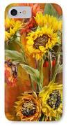 Sunflowers In Sunflower Vase - Square IPhone Case by Carol Cavalaris