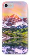 Sunset At Maroon Bells And Maroon Lake Aspen Co IPhone Case by James O Thompson