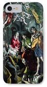 The Adoration Of The Shepherds From The Santo Domingo El Antiguo Altarpiece IPhone Case by El Greco Domenico Theotocopuli
