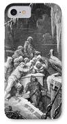 The Albatross Being Fed By The Sailors On The The Ship Marooned In The Frozen Seas Of Antartica IPhone Case by Gustave Dore