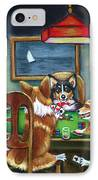 The Corgi Poker Game IPhone Case by Lyn Cook