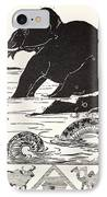 The Elephant's Child Having His Nose Pulled By The Crocodile IPhone Case by Joseph Rudyard Kipling