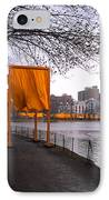The Gates - Central Park New York - Harlem Meer IPhone Case by Gary Heller