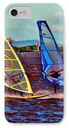 Three Amigo Windsurfers IPhone Case by Joseph Coulombe