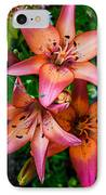 Three Pink Lilies IPhone Case by Omaste Witkowski