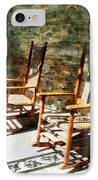 Three Wooden Rocking Chairs On Sunny Porch IPhone Case by Susan Savad