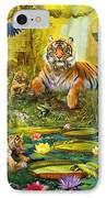 Tiger Family In The Jungle IPhone Case by Jan Patrik Krasny