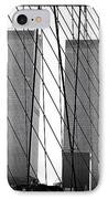Towers From The Brooklyn Bridge 1990s IPhone Case by John Rizzuto