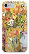 Tulips And Narcissi In An Art Nouveau Vase IPhone Case by Joan Thewsey