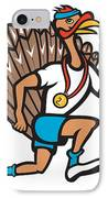 Turkey Run Runner Thumb Up Cartoon IPhone Case by Aloysius Patrimonio