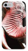 Tusk 4 - Red Elephant Art IPhone Case by Sharon Cummings