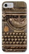 Underwood Typewriter Number 5 IPhone Case by Debra and Dave Vanderlaan