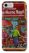 Van Horne Bagel With Yangtze Restaurant Montreal Street Scene IPhone Case by Carole Spandau