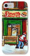 Verdun Hockey Game Corner Landmark Restaurant Depanneur Pierrette Patate Winter Montreal City Scen IPhone Case by Carole Spandau