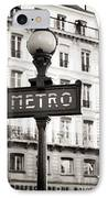 Vintage Paris Metro IPhone Case by John Rizzuto