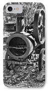 Vintage Steam Tractor Black And White IPhone Case by Douglas Barnard