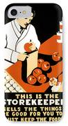 W P A  Food Hygiene Poster C. 1937 IPhone Case by Daniel Hagerman
