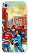 Whimsical Hockey Art Snow Day In Montreal Winter Urban Landscape City Scene Painting Carole Spandau IPhone Case by Carole Spandau