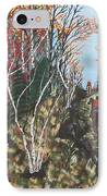White Birch Trail Ride IPhone Case