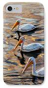 White Pelicans  In Golden Water IPhone Case