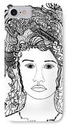 Wild Hair Portrait In Shapes And Lines IPhone Case by Lenora  De Lude
