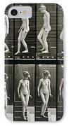 Woman Descending Steps IPhone Case by Eadweard Muybridge
