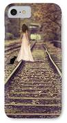 Woman On Railway Line IPhone Case by Amanda Elwell