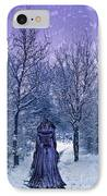 Woman Walking In Snow IPhone Case by Amanda Elwell