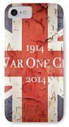 World War One Centenary Union Jack IPhone Case by Jane Rix