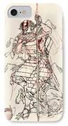 Wounded Samurai Drinking Sake C. 1870 IPhone Case by Daniel Hagerman