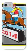 Year Of Horse 2014 Jockey Jumping Cartoon IPhone Case