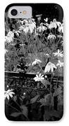 Yellow Coneflowers Echinacea Wrought Iron Gate Bw IPhone Case