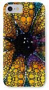 Yellow Sunflower - Stone Rock'd Art By Sharon Cummings IPhone Case by Sharon Cummings
