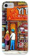 Yitzs Deli Toronto Restaurants Cafe Scenes Paintings Of Toronto Landmark City Scenes Carole Spandau  IPhone Case